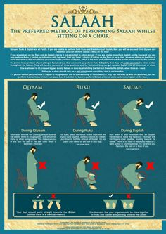 How to pray your salah/salat whilst siting in a chair :) Note: This is only if you are unable to perform prayer standing up due to sickness/illness or some kind of pain. Islamic Quotes, Islamic Posters, Islamic Prayer, Islamic Teachings, Muslim Quotes, Quran Quotes, Religious Quotes, Islamic Messages, Allah Quotes