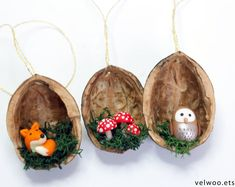 [Forest Animal Christmas Ornaments, Fox owl and mushroom ornament, walnut shell ornament , Nature Gi Waldtier Ornamente Fox Eule und Pilz Fox Ornaments, Nativity Ornaments, Shell Ornaments, Owl Ornament, Handmade Ornaments, Hanging Ornaments, Christmas Tree Ornaments, Christmas Decorations, Holiday Decor