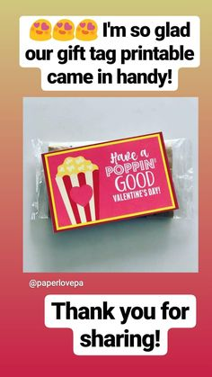 Poppin' Good Valentine's Day Gift Idea w/free printable Christmas Booth, Best Valentine's Day Gifts, Valentine's Day Crafts For Kids, Gift Tags Printable, Valentine Day Crafts, Free Printables, Free Printable, Valentine Crafts
