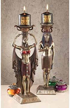 Amazon.com: Design Toscano Egyptian Attendants to the Gods Sculptural Candleholders Set of Two: Home & Kitchen