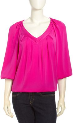 Cahil Pleated V Neck Blouse Gardenia - Lyst