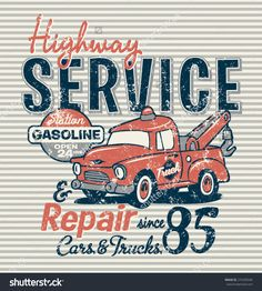Highway service station, vector print for children wear, grunge effect in separate layer