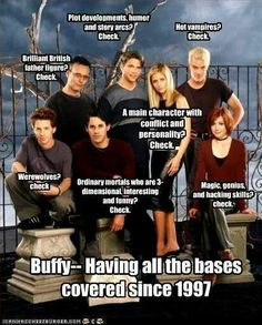 I think it's hilarious that Riley is there with all the other main characters. RILEY?! (Buffy The Vampire Slayer)