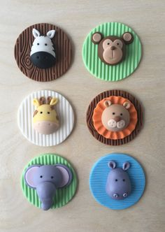 12 super cute jungle animals. Perfect for your baby girl or baby boy birthday / baby shower This listing includes 12 toppers 2 lions 2 zebras 2 hippos 2 monkeys 2 giraffe 2 elephants Toppers are 2 diameter and 100% edible   **** please allow at least 2 weeks for making the toppers and a week to ship   - When placing your order please add a note with your event date. I work by the date of when you need the toppers. I recommend to all my customers at least one month in advance for every order…