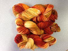 University Drive 2 ply sock yarn October 2014 Pumpkin Spice