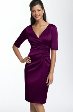 Donna Ricco Ruched Empire Stretch Satin Dress available at #Nordstrom