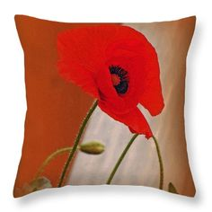 Red Throw Pillow featuring the photograph Red Poppy And Buds by Kay Novy