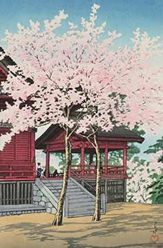 "Japanese Art Print ""Cherry Blossoms at Kiyomizu Temple in Uyeno Park, Tokyo (Uyeno Kiyomizu-do no Sakura)"" by Kawase Hasui. Shin Hanga and Art Reproductions http://www.amazon.com/dp/B00ZJROOYC/ref=cm_sw_r_pi_dp_TPxswb0CQ080X"