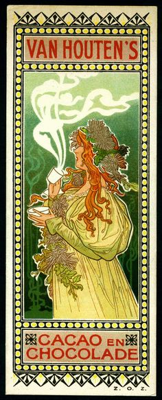 Van Houten's Chocolate, c1900. Art Nouveau tradecard in the Mucha Style.