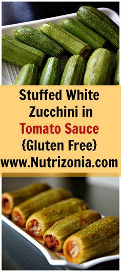 Stuffed White Zucchini in Tomato Sauce (Kousa Mahshi) - :: Nutrizonia :: Lebanese Recipes, Italian Recipes, Vegan Recipes, Celiac Recipes, Delicious Recipes, Healthy Side Dishes, Vegan Dishes, Low Fat Soups, Middle Eastern Recipes