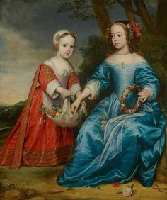 Gerrit van Honthorst: Portrait of prince Willem III (1650-1702) and his aunt Maria of Nassau (1642- 1688), as children (1653)