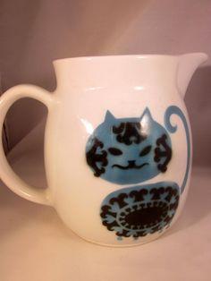 Vintage ARABIA Blue & Black CAT Ceramic Pitcher FINLAND Kaj Frank