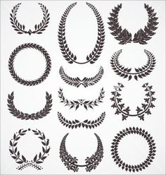 Laurel wreath set vector 809119 - by creative4m on VectorStock®