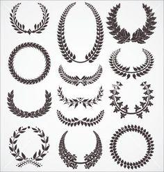 Laurel wreath set vector 809119 - by creative4m on VectorStock®