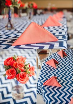Navy chevron and orange wedding reception decor by @Nancy Barger. Bride and groom at the Pavilion at Hunter Valley Farm in Knoxville TN. Click to view more pictures from this wedding! wedding photographer, farm wedding, tennessee wedding