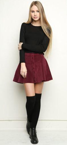 http://www.brandymelvilleusa.com/ burgundy button up skirt 60's style