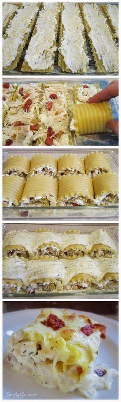 Chicken & Bacon Lasagna Roll Ups - Recipesdocs