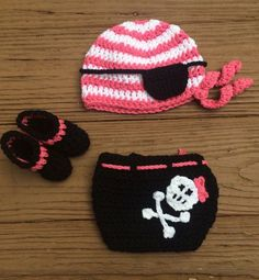 Crochet Newborn Baby Girl Pirate Set Hat with by Rx3CustomCrochet Ponto E  Linha b32b3e64e76
