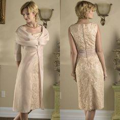 Unique Design Knee Length Short Sleeve Taffeta Vintage Lace Mother of The Bride Dresses 2014