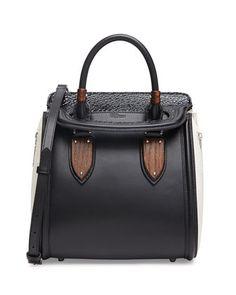 Heroine Small Satchel Bag, Black/White by Alexander McQueen at Neiman Marcus.