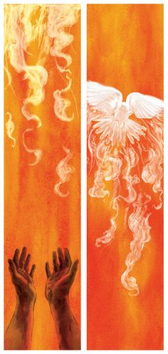Confirmation is based on the biblical event of Pentecost where the Holy Spirit came down upon the Apostles. The same happens to us in confirmation, we are blessed with the Holy Spirit and accepted into the church on a more intimate level. Holy Spirit Come, Religion, Saint Esprit, Prophetic Art, Biblical Art, Spiritus, Church Banners, Church Design, Holy Ghost