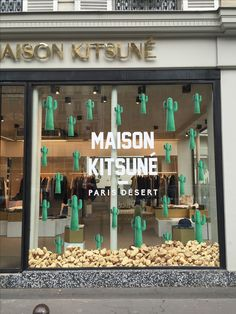 Maison Kitsuné Paris Desert window display #paris #desert #cactus #cacti #display #decor #windowdesign