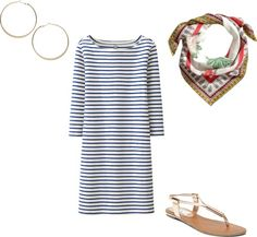 Spring Outfit Idea #14 Striped Dress + Printed Scarf + Hoop Earrings + Sandals --- Pretty Style Tip of the Day: There's nothing easier than your favorite dress with a pair of sandals. Add some interest to this basic combo with a printed scarf. Try mixing different patterns and colors to see which one is your favorite.