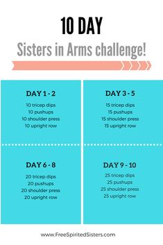 Join su for this Sisters in Arms Challenge and have your guns getting stronger each day! Arm Workout Challenge, 10 Day Challenge, Month Workout, Workout Schedule, Workout Calendar, Workout Plans, Workout Ideas, 10 Day Workouts, Fitness Workouts