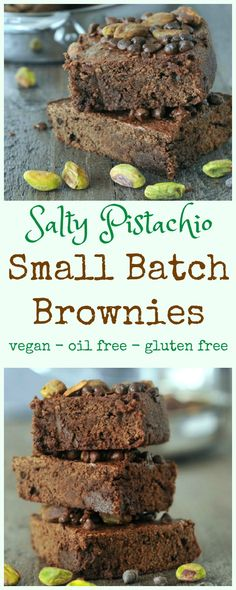 Salty Pistachio Small Batch Brownies @spabettie #vegan #oilfree #glutenfree #airfryer #quick #dessert
