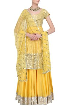 UMRAO MIRZA Yellow Sequins Embroidered Short Anarkali and Skirt Set #sequin #embellished #brocade #net #ethnic #traditional #pernia #perniaspopupshop #ethnicwear #indianwear #umraomirza
