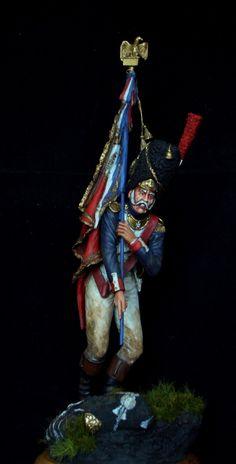 Alfiere del rgt. granatieri della guardia imperiale francese Figure Model, Scale Model, Bataille De Waterloo, French History, French Army, Napoleonic Wars, Little People, Figure Painting, Vignettes