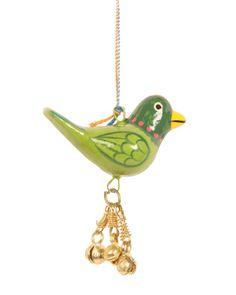Hanging bird with bells green