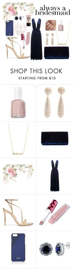 """""""once a bridesmaid..."""" by anabelisstyle ❤ liked on Polyvore featuring Essie, Betsey Johnson, Gunne Sax By Jessica McClintock, Gianvito Rossi, Lime Crime, Native Union, BERRICLE and NYX"""