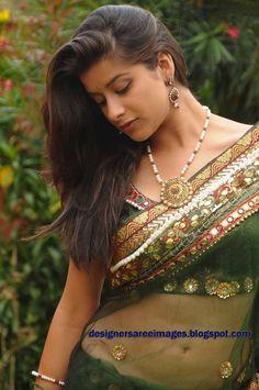 Actress Madhurima in Transparent Green Saree