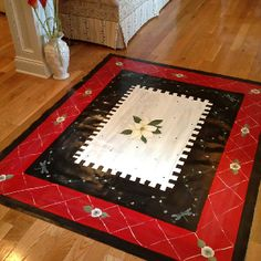 may do this with a rooster in the middle Painted Porch Floors, Painted Floor Cloths, Porch Flooring, Painted Rug, Painted Furniture, Hand Painted, Drop Cloth Rug, Canvas Drop Cloths, Deck Rug