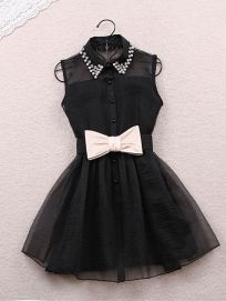 Elegant Bowknot Decorated Perspective A-Line Women Casual Dress