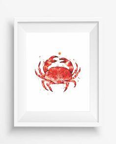 Crab Print,Cooked Crab,seafood digital art,watercolor,Kitchen Decor,Culinary…