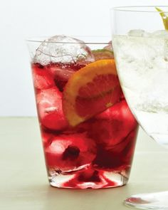 Sangria Spritzer - Martha Stewart Recipes... I'm making this for taco night tonight with red wine, Cointreau, orange, lime, and ginger ale.