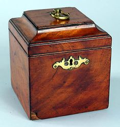"Tea Caddy  18th Century  Presented by George Washington to Anna Bridge of Morristown, 1777. Marked with initials ""K.B"" on bottom."
