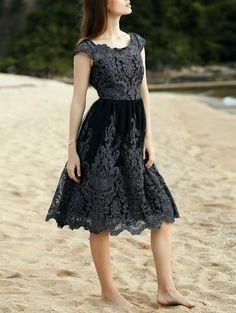 Lace Scoop Neck Short Sleeve Midi Dress #shoes, #jewelry, #women, #men, #hats, #watches