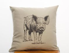 "Pig 16"" Square Organic Cotton Twill Screen Printed  Pillow Cover with Invisible Zipper Khaki Neutral 16 x 16 Pillow Nature Animal Rights"
