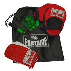 EASTSIDE BOXING PERFORMANCE COMBO SET - A boxing training set for the individual consists of Pro performance boxing bag mitts, straight hook and jab pads, skipping rope and a drawstring storage bag. Boxing Training Gloves, Training Kit, Best Home Gym, Martial Arts, Fitness, Bags, Red Black, Boxing, Sports