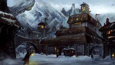 village mountain fantasy concept rpg madden shane nerdy winter landscape dnd town viking stuff castle landscapes environment castles steampunk visit