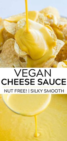 all purpose vegan cheese sauce (nut free!) that goes great with chips, on a baked potato or drizzled over steamed broccoli.An all purpose vegan cheese sauce (nut free!) that goes great with chips, on a baked potato or drizzled over steamed broccoli. Best Vegan Cheese, Vegan Cheese Recipes, Vegan Cheese Sauce, Dairy Free Cheese, Vegan Sauces, Vegan Foods, Vegan Dishes, Cashew Cheese, Gluten Free Cheese Sauce Recipe