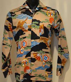 Vintage 70's Hipster Retro L/S Japanese Hawk Crane Hawaiian Shirt Golden Arrow M