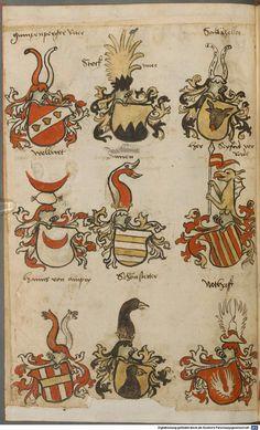 Wappen besonders von deutschen Geschlechtern Süddeutschland ?, 1475 - 1560 Cod.icon. 309  Folio 9v