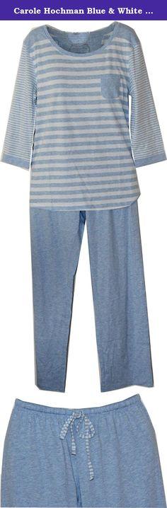 Carole Hochman Blue & White Striped Pajama / Loungewear Set (medium). 60% polyester, 40% cotton.