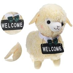 KSB 17.7'' Beige Alpacasso Amuse Alpaca Plush Toy , Cafe Waiters and Maids Sheep Doll For Children Kids Best Birthday Gifts Over 1 Years (Welcome) >>> See this great product. (This is an affiliate link) #StuffedAnimalsTeddyBears