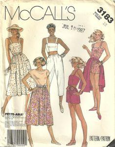 Classy Patterns - McCalls 3183 Vintage Misses Jumpsuit Romper Skirt Sewing Pattern Size 12 JLO Style