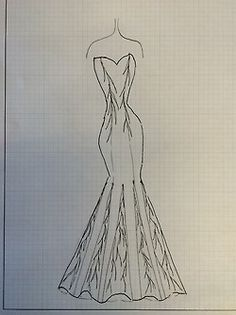 3 min. fashion sketch of my sister's wedding gown.